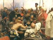 Reply of the Zaporozhian Cossacks to Sultan Mehmed IV of Turkey by Ilya Repin (1880-1891)