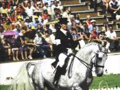Photo of Elisabeth Max-Theurer at the 1980 Olympics in dressage.
