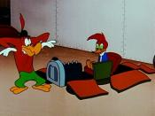 Woody Woodpecker and Buzz Buzzard in a scene from Hot Rod Huckster.