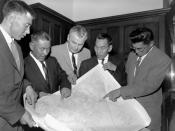 Left to right: George Koneak, Fort Chimo, Que.; Shinuktuk, Rankin Inlet, N.W.T.; John Georege Diefenbaker, Prince Rupert, Sask.; Jean Ayaruark, Rankin Inlet, N.W.T.; Abraham Ogpik, Aklavik, N.W.T. In Ottawa, Ontario, Canada, May 1959