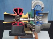 English: Turbocharger cutaway used for many aerospace power and propulsion applications. Made by Mohawk Innovative Technology, Inc. Français : Éclaté d'un Turbocompresseur utilisé dans plusieurs engins spatiaux et autres applications de propulsion.