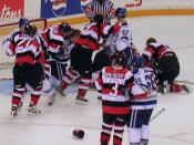 English: Hockey fight between the Sudbury Wolves and the Ottawa 67's, around 2006.