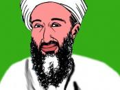 """English: """"In fact, Osama bin Laden is a pilot of American Airlines..."""" – a political cartoon by Carlos Latuff. Modified to serve as a makeshift portrait of Osama bin Laden."""