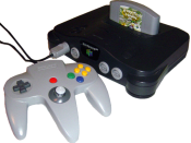 A Nintendo 64 game console and controller (Nintendo 64 is a trademark of Nintendo Company, Limited).
