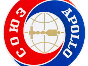 This is the Official emblem of the Apollo Soyuz Test Project (ASTP) chosen by NASA and the Soviet Academy of Sciences. Of circular design, the emblem has the words Apollo in English and Soyuz in Russian around a center disc which depicts the two spacecraf