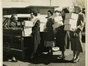 Hospital visiting committee sets out to bring Passover food packages, 1952