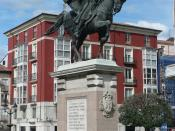English: Monument to the Cid in Burgos (Castile and León, Spain), inaugurated in 1955. The bronze equestrian statue was sculpted by Juan Cristóbal González Quesada (1897–1961). Español: Monumento al Cid en Burgos (Castilla y León, España), inaugurado en 1