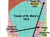 English: A map of Indiana showing the areas purchased, dates, and the name of the treaties. The land was purchased from Native Americans (American Indians) Treaties by William Henry Harrison, Thomas Posey, Jonathan Jennings, George Rogers Clark. Created b