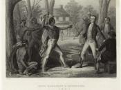 At Vincennes in 1810, Tecumseh threatens William Henry Harrison when he refuses to rescind the Treaty of Fort Wayne.