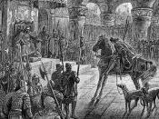 Culhwch entering Arthur's Court in the Welsh tale Culhwch and Olwen, 1881