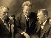 Andrew Furuseth (left) with Senator La Follette (center), and muckraker Lincoln Steffens, circa 1915