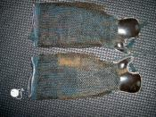 English: Antique Edo period Japanese (samurai) han kote or half sleeve. Chain armor kusari and iron plate finger protectors tekko sewn to cloth.