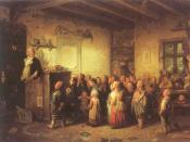 Deutsch: Preußischer Schulmeister. Jobs als Schulmeister, 1846, Gemälde von Johann Peter Hasenclever
