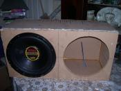 English: A DIY audio speaker box for 15 inch subwoofers