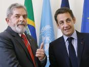 English: Brazilian President Lula da Silva and Nicolas Sarkozy in New York.