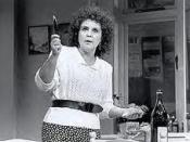 Pauline Collins as Shirley Valentine addresses the kitchen wall in the Broadway production