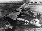 Albatros D.III fighters of Jasta 11 at Douai, France. The second closest aircraft was one of several flown by Manfred von Richthofen