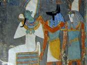 English: Detail of the frieze of the wells in the tomb of Pharaoh Horemheb, showing the gods Osiris, Anubis, and Horus.