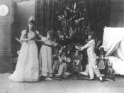 English: Photo of Stanislava Belinskaya as Clara (left), an unknown performer (center), & Vassily Stulkolin as Fritz (right) in the Imperial Ballet's original production of the Petipa/Ivanov/Tchaikovsky ballet